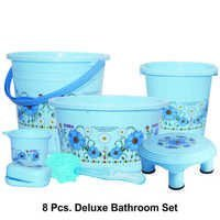 PLASTIC PRINTED BATHROOM SET DELUXE 8PC SET