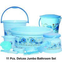PASTIC PRINTED BATHROOM SET DELUXE JUMBO 11PC SET