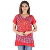 Women Fashion Rayon Formal Top Tunic Tops Women Fashion Mandala Block Printed Top Supplier Print
