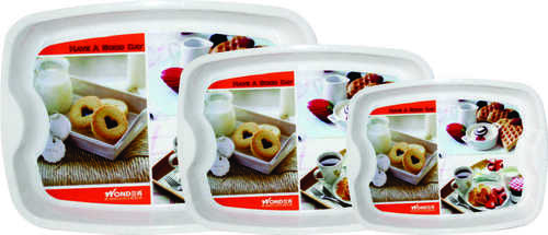 PLASTIC GOOD DAY SERVING TRAY 3 PC SET