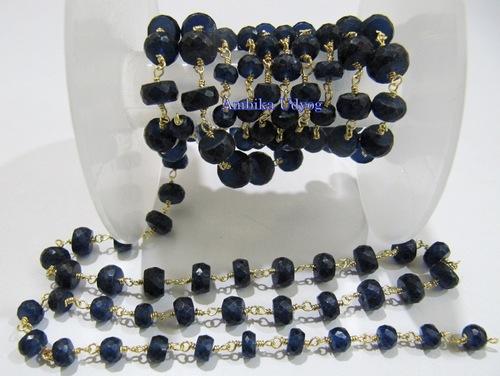 Blue Sapphire Rosary Beaded Chain