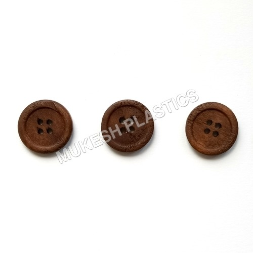 Brown 4 Hole Wooden Button For Bags