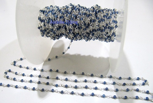 Fancy Lab Created Blue Sapphire Beaded Chain