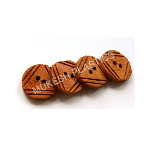 Double Triangle Convex Wooden Button