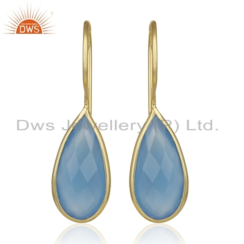 Gold Plated Silver Blue Chalcedony Earrings