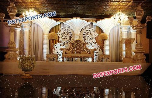 Fiber Carved Pillar Wedding Stage