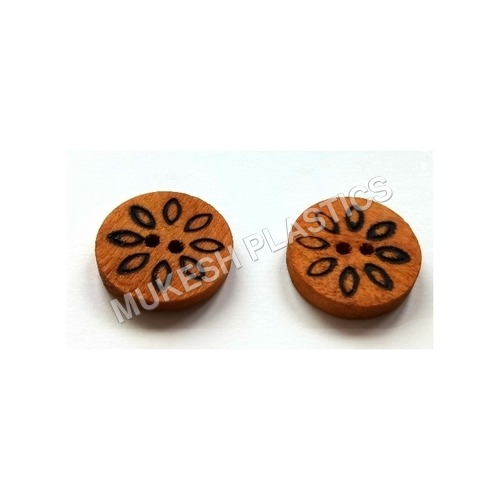 Flower Engraved Wood Button