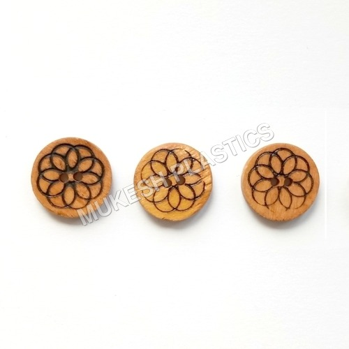 Flower Engraved Wooden Button