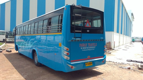 Blue Buses back view