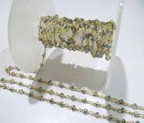 Hydro Quartz Green Peacock Pyrite Beaded Chain