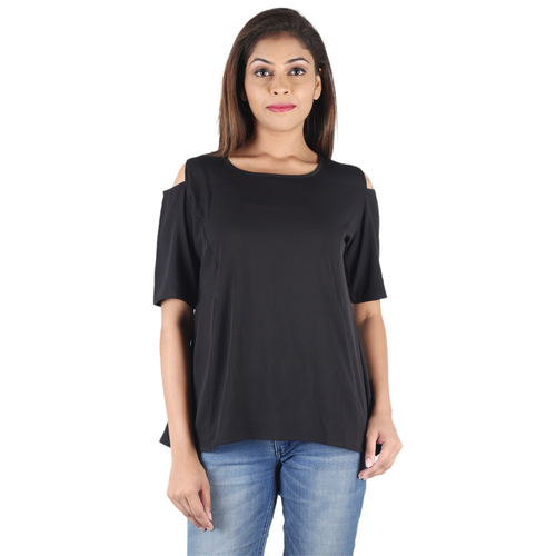 Poly Crepe Printed Black Balloon Short Sleeve Round Neck Top Blouses & Tops Manufacturer