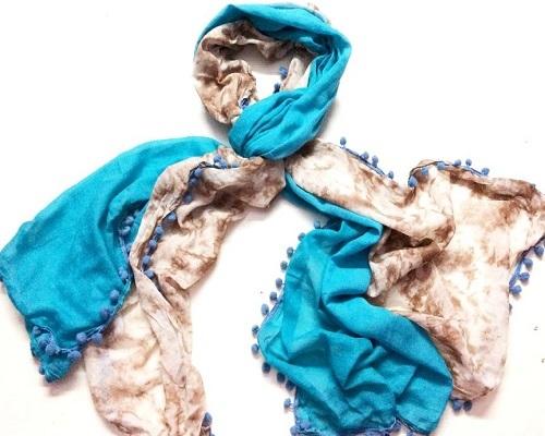 Designer turqoise/brown tie dye pom poms scarves