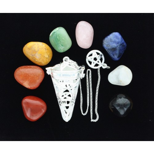 Silver Pentacle Cage Pendulum With Chakra