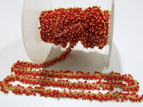 Hydro Quartz Coral Smooth Grape Beaded Chain