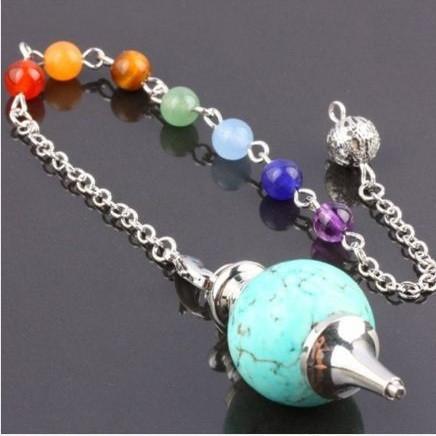 Healing Stone Pendulum with 7 Chakra Stones Chain