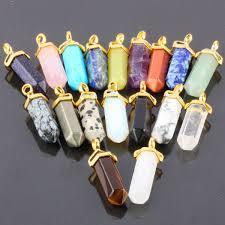 1Pc Gem Stone Hexagon Reiki Chakra Pendulum Bead