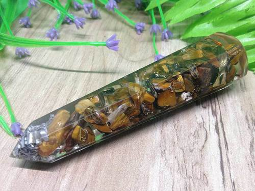 Tiger Eye Faceted Orgone Massage Wand