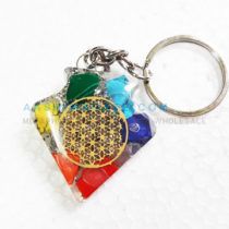 Colorful Chips Kite Shape Orgone Key Chain