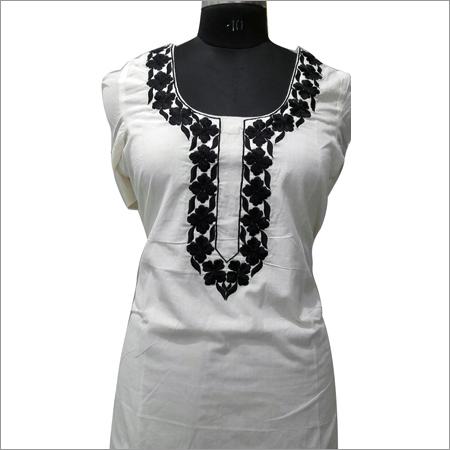 Ladies Black And White Thread Embroidery Kurta