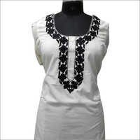 Ladies Black And White Thread Embroidery Kurta
