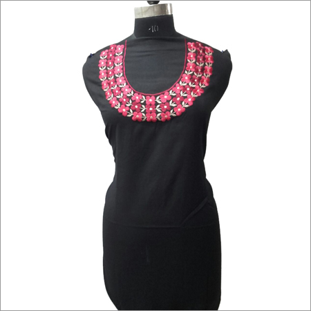 Ladies Black Kurta With Pink Embroidery Neck