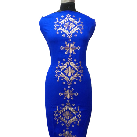 Ladies Beige Embroidery On Royal Blue Kurta
