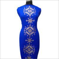 Ladies Beige Embroidery On Royal Blue Kurta