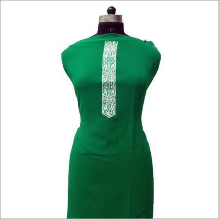 Ladies Green Georgette Fabric With Cream Embroidery Kurta