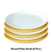 MICROWAVE SAFE PLASTIC ROUND  PLATE SMALL 6PC SET