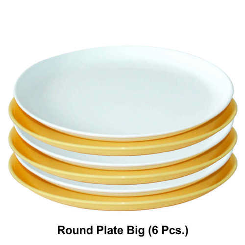 MICROWAVE SAFE PLASTIC ROUND  PLATE BIG 6PC SET