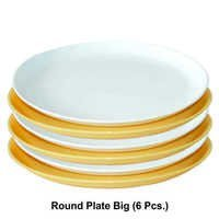 WONDER  MICROWAVE SAFE PLASTIC ROUND  PLATE BIG 6PC SET