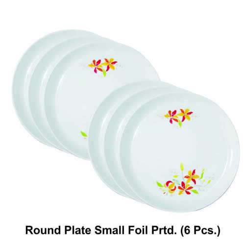 MICROWAVE SAFE PLASTIC ROUND PRINTED PLATE SMALL 6PC SET
