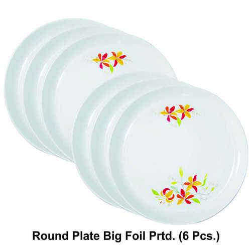 MICROWAVE SAFE PLASTIC ROUND PRINTED PLATE BIG 6PC SET