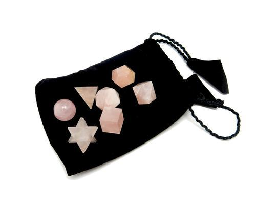 Rose Quartz Geometric Shape Set