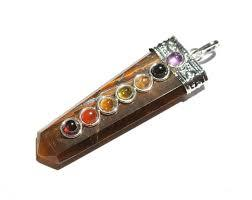 Tiger Eye Flat Pencil 7 Chakra Pendant