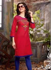 Designer Cotton Embroidery Kurti