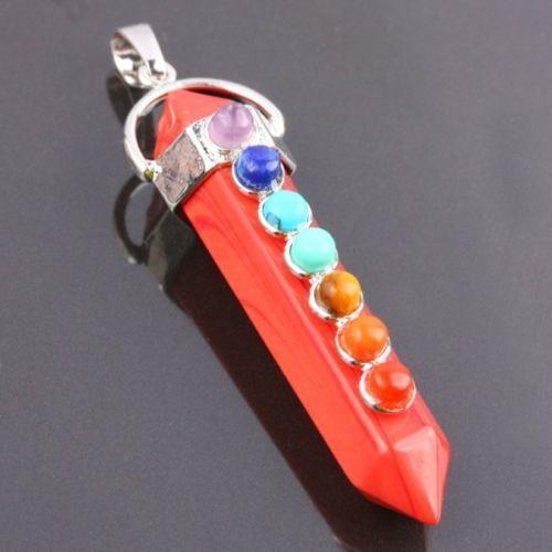 Red Jasper Hexagonal 7 Chakra Gemstone Pendant