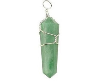 Wire Wrapped Green Aventurine Point Pendant