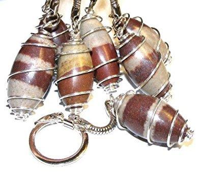 Shiva Lingam Wire Wrapping Gemstone Key-Ring
