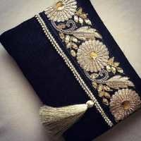 Dark blue jute bags with lace