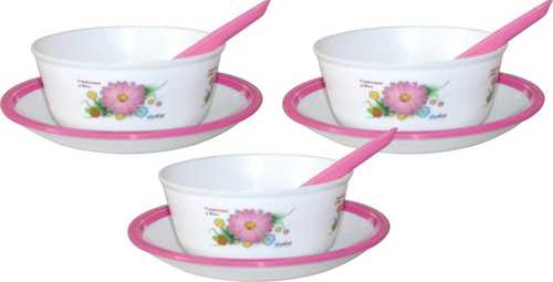 WONDER PLASTIC MICROWAVE SAFE ROUND PRINTED SOUP SET WITH PLATE