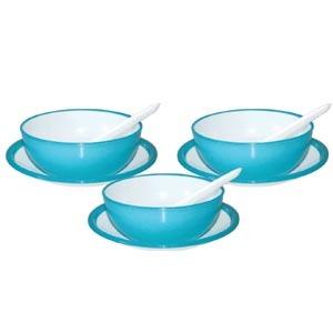 Round Microwave Safe Soup Bowl Set DEZIRE DOUBLE COLOR WITH PLATE