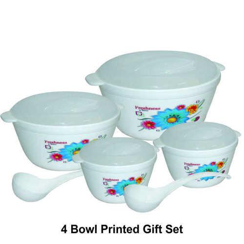 Microwave Safe Plastic 4 Serving Bowl Gift Set (printed)