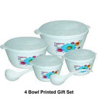 Microwave Safe Plastic 4 Serving Bowl Gift Set (printed)