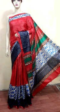 Tussar Block Print Saree