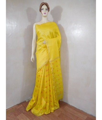 Cotton Silk Pallu Yellow Saree