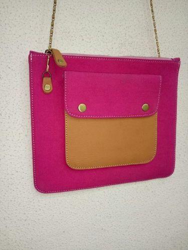 Pink Canvas Handmade Crossbody Bag