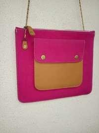 Pink Canvas Handmade Crossbody Bag