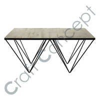 Square Pine Coffee Table With Metal Legs