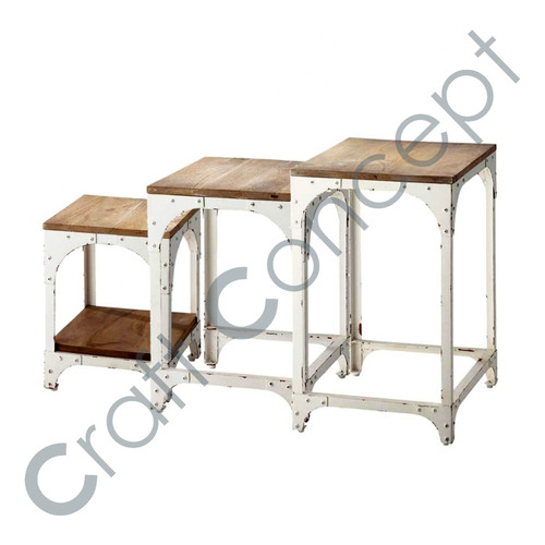 Set Of 3 Solid White Metal Nesting Table